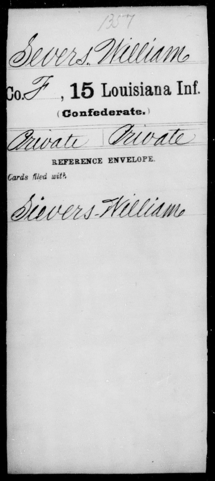 Severs, William - Age [Blank], Year: [Blank] - Fifteenth Infantry, No - Sm - Louisiana