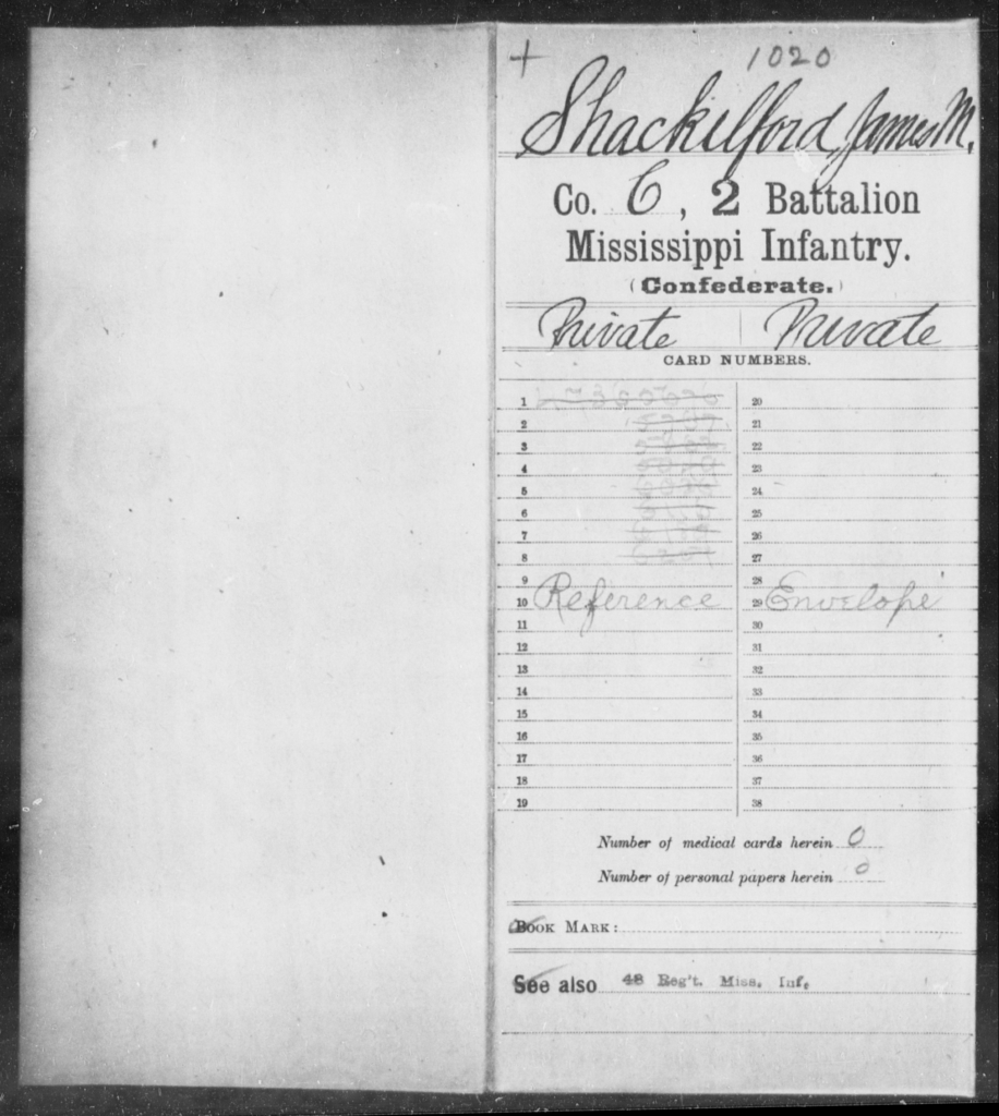 Shackelford, James M - Age: [Blank], Year: [BLANK] - Mississippi Second Battalion, Infantry, R-Z AND Second (Davidson's) Infantry (Army of 10,000), A-O