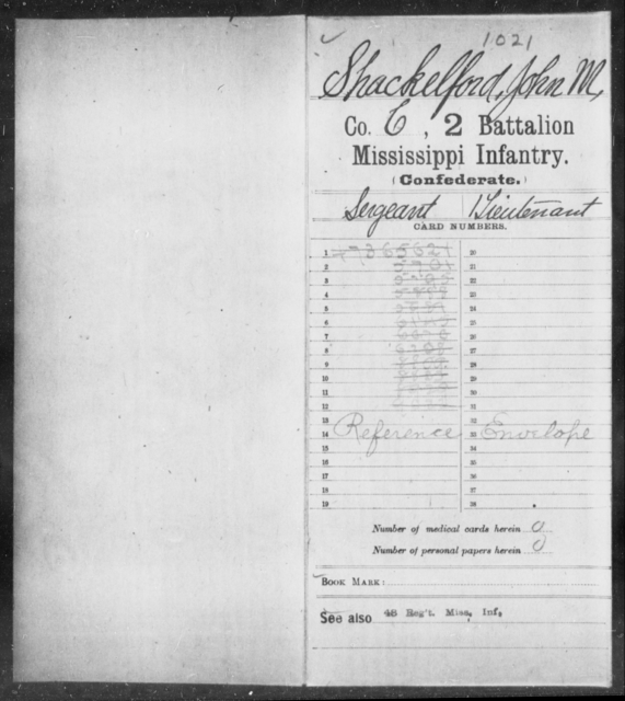 Shackelford, John M - Age: [Blank], Year: [BLANK] - Mississippi Second Battalion, Infantry, R-Z AND Second (Davidson's) Infantry (Army of 10,000), A-O
