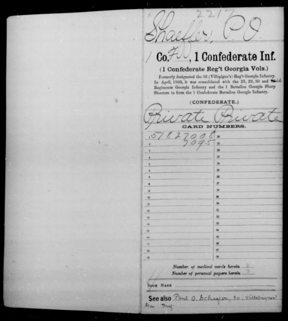 Shaeffer, P O - Age [Blank], Year: 1862 - First Confederate Infantry, Ro-S - Raised Directly by the Confederate Government