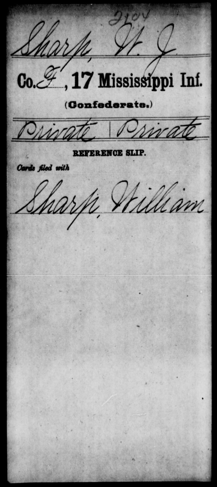 Sharp, W J - Age: [Blank], Year: [BLANK] - Mississippi Seventeenth Infantry, S-St