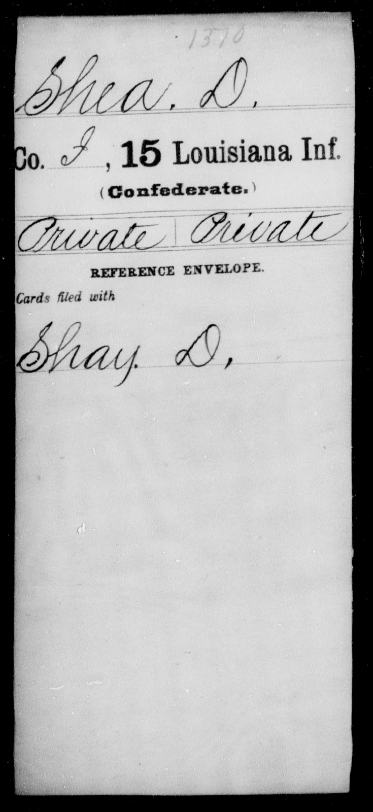 Shea, D - Age [Blank], Year: [Blank] - Fifteenth Infantry, No - Sm - Louisiana