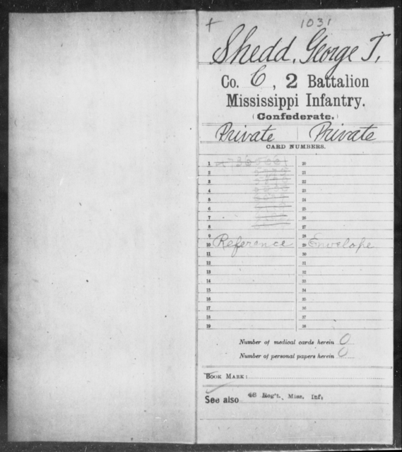 Shedd, George T - Age: [Blank], Year: [BLANK] - Mississippi Second Battalion, Infantry, R-Z AND Second (Davidson's) Infantry (Army of 10,000), A-O
