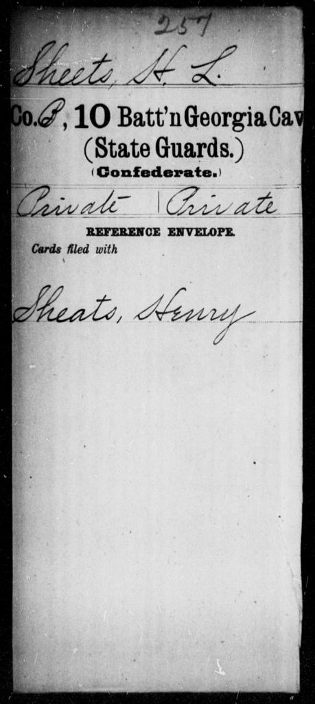 Sheets, H L - 10th Battalion, Cavalry (State Guards)