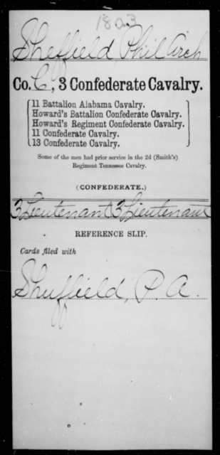 Sheffield, Phil Arch - Age [Blank], Year: [Blank] - Third Confederate Cavalry, O-S - Raised Directly by the Confederate Government