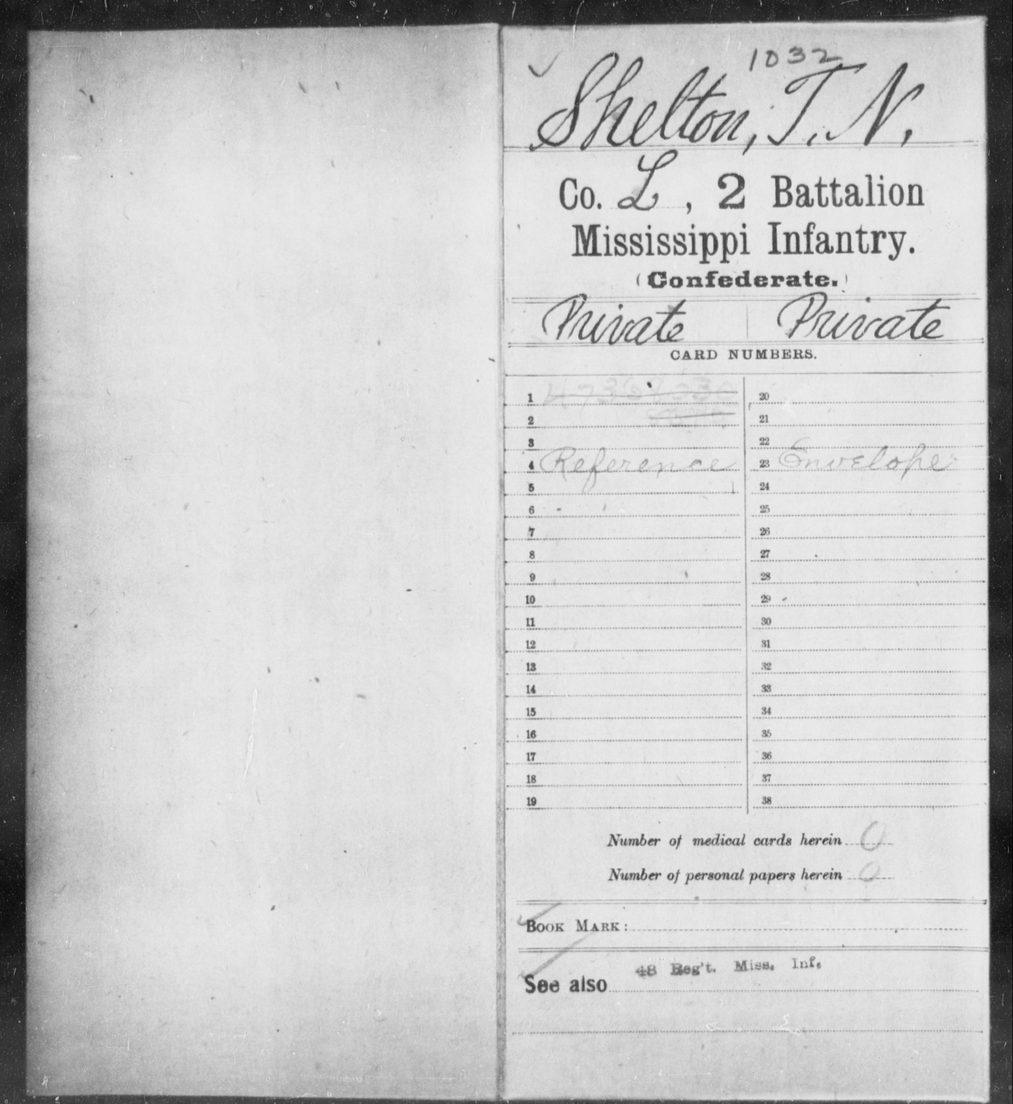 Shelton, T N - Age: [Blank], Year: [BLANK] - Mississippi Second Battalion, Infantry, R-Z AND Second (Davidson's) Infantry (Army of 10,000), A-O