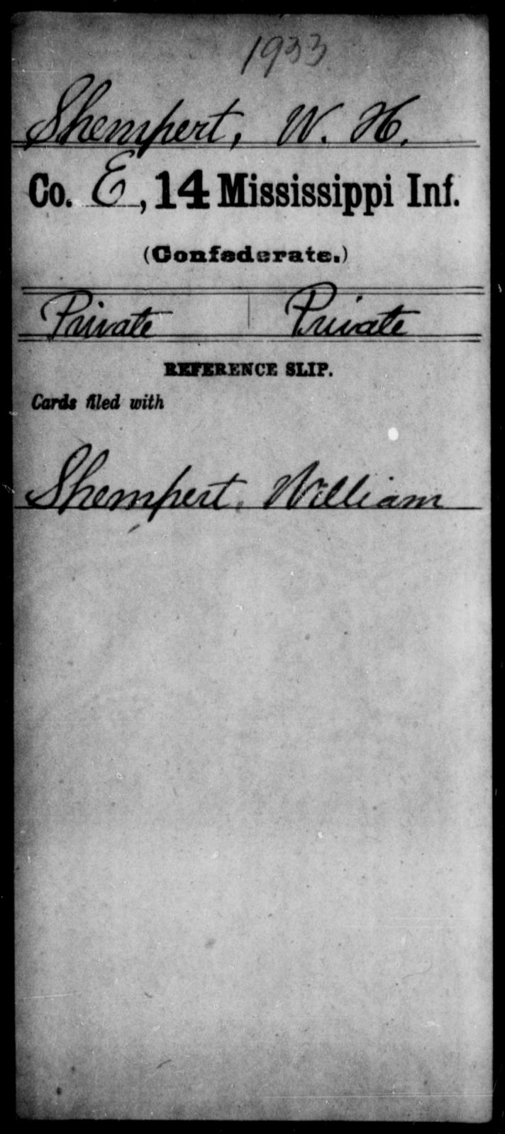 Shempert, W H - Age: [Blank], Year: [BLANK] - Mississippi Fourteenth Infantry, P-Sp