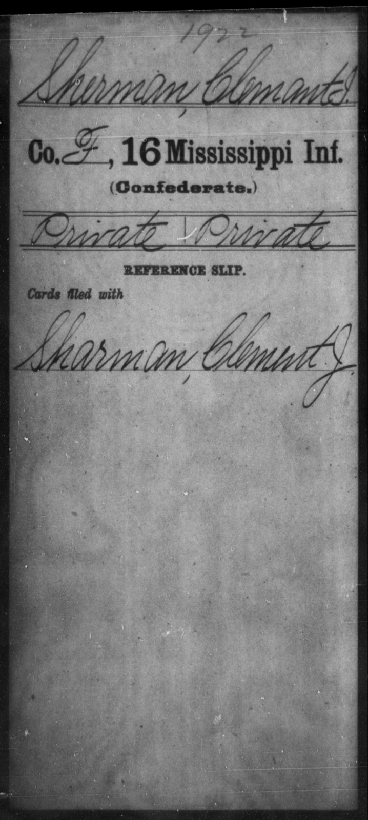 Sherman, Clement I - Age: [Blank], Year: [BLANK] - Mississippi Sixteenth Infantry, A, Ro-Sn