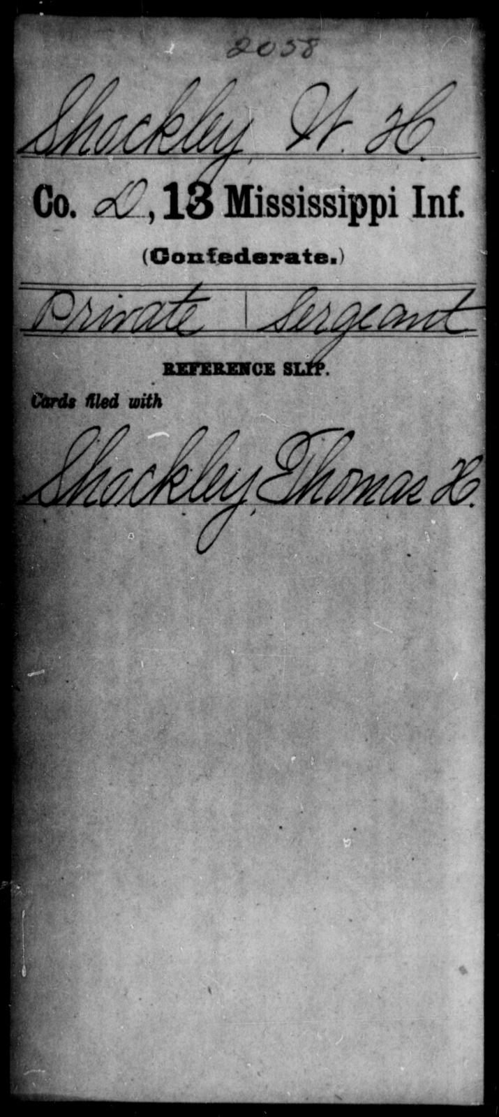 Shockley, W H - Age: [Blank], Year: [BLANK] - Mississippi C, Sh-T