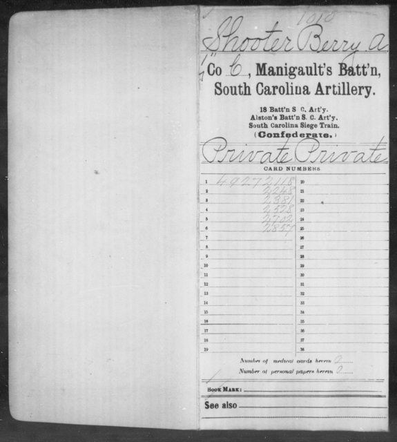 Shooter, Berry A - Age: [Blank], Year: 1863 - South Carolina Manigault's Battalion, Artillery Mi-Si