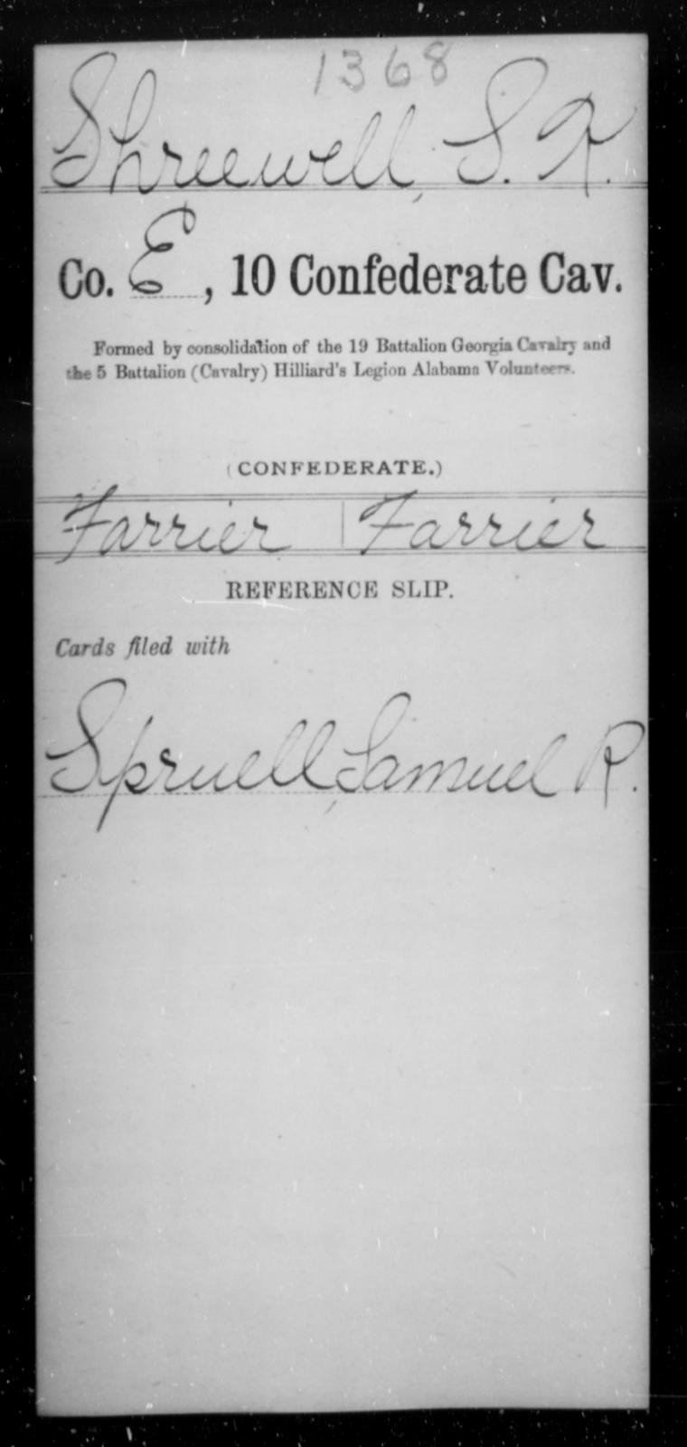 Shreewell, S K - Age [Blank], Year: [Blank] - Tenth Confederate Cavalry, R-Z - Raised Directly by the Confederate Government