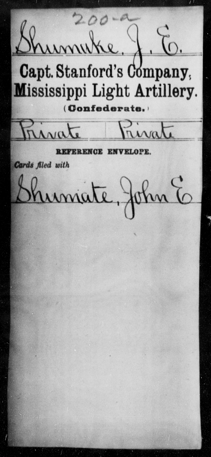 Shumuke, J E - Age: [Blank], Year: [BLANK] - Mississippi Capt. Stanford's Co., Light Artillery, D-W AND Capt. Swett's Co., Light Artillery (Warren Light Artillery), A-O