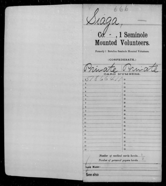Siaga, [Blank] - Age [Blank], Year: 1861 - First Seminole Mounted Volunteers, D-Y - Raised Directly by the Confederate Government