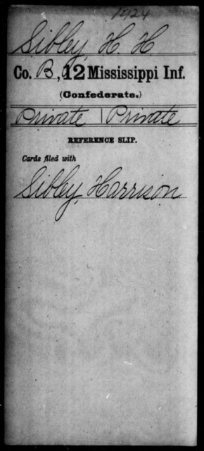 Sibley, H H - Age: [Blank], Year: [BLANK] - Mississippi Twelfth Infantry, Ph-Si