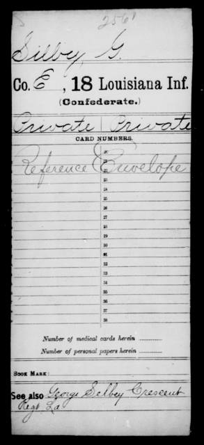 Silbey, G - Age [Blank], Year: [Blank] - Eighteenth Infantry, Si - Z - Louisiana