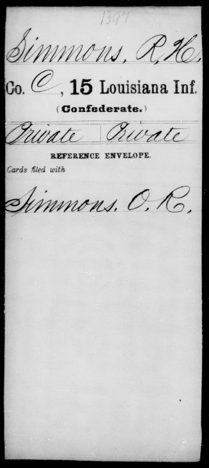Simmons, R H - Age [Blank], Year: [Blank] - Fifteenth Infantry, No - Sm - Louisiana
