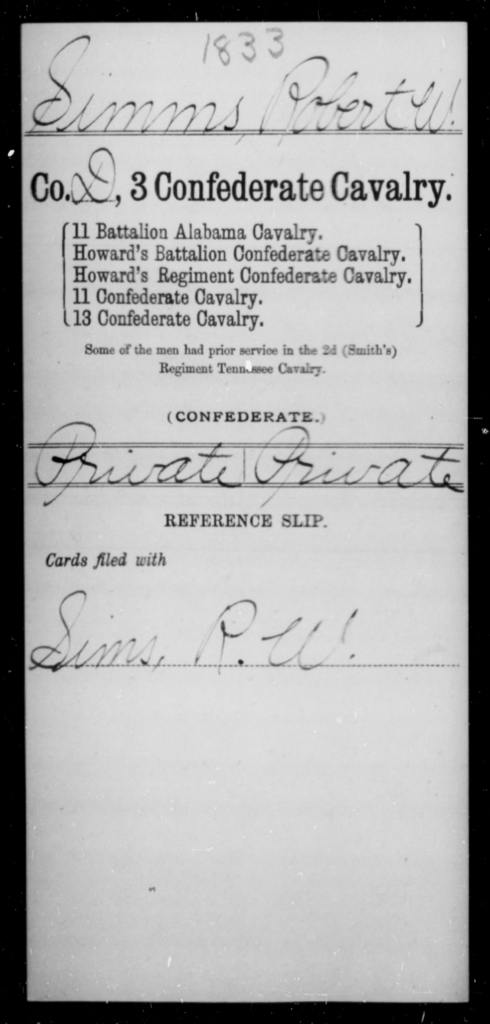 Simms, Robert W - Age [Blank], Year: [Blank] - Third Confederate Cavalry, O-S - Raised Directly by the Confederate Government
