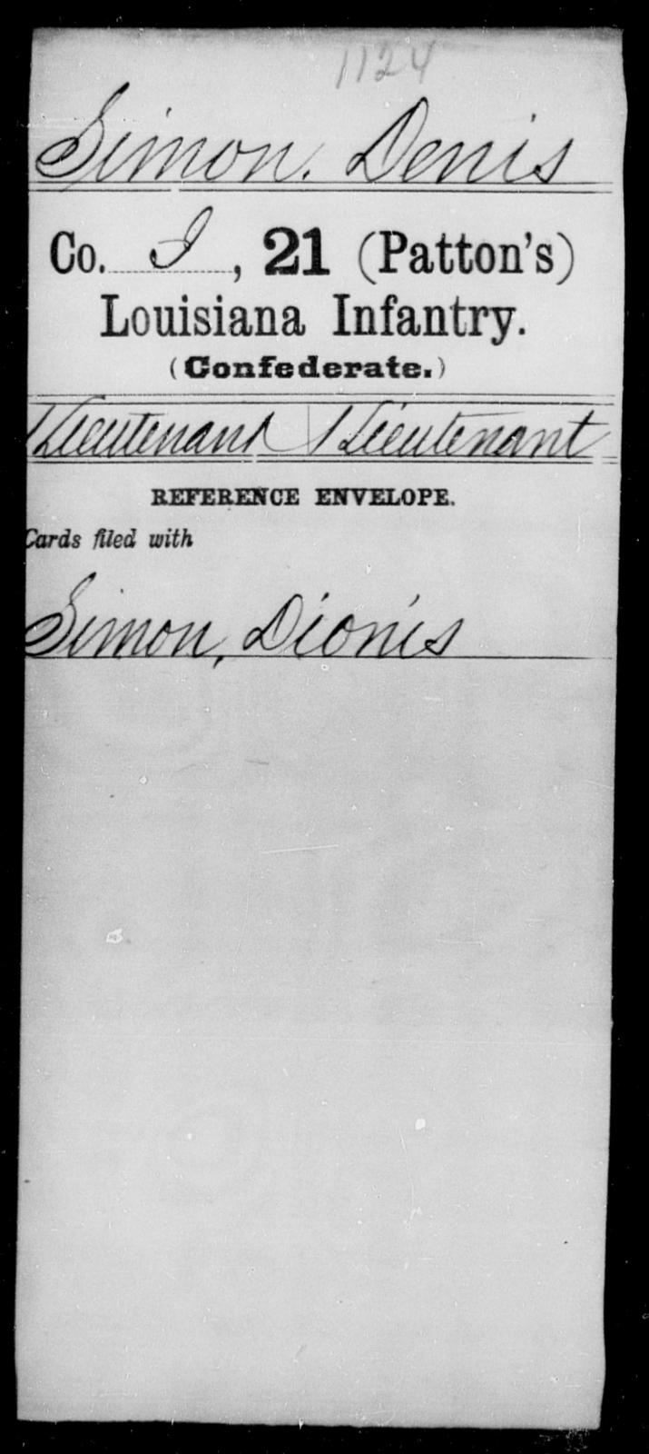 Simon, Denis - Age [Blank], Year: [Blank] - Twenty-first (Patton's) Infantry, Se - Z AND Roll Military Unit - Louisiana