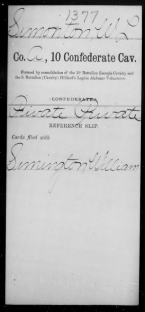 Simonton, W L - Age [Blank], Year: [Blank] - Tenth Confederate Cavalry, R-Z - Raised Directly by the Confederate Government