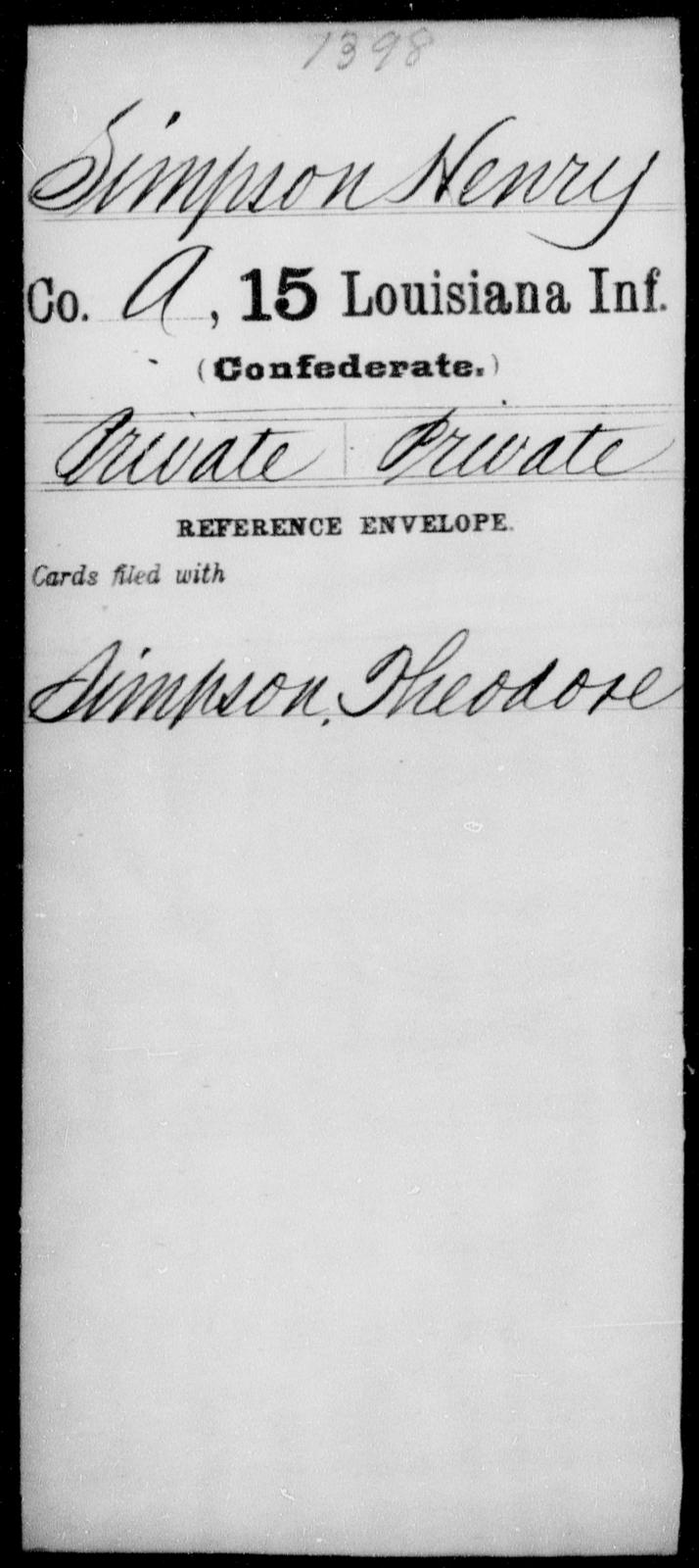 Simpson, Henry - Age [Blank], Year: [Blank] - Fifteenth Infantry, No - Sm - Louisiana