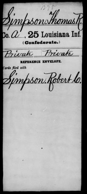 Simpson, Thomas R - Age [Blank], Year: [Blank] - Twenty-fifth Infantry, R - Te - Louisiana