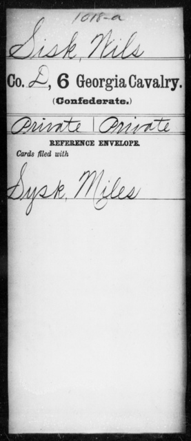Sisk, Wils - 6th Cavalry AND 6th Battalion, Cavalry (State Guards)