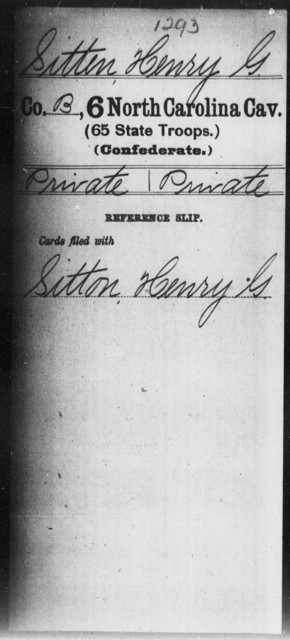 Sitten, Henry G - Sixth Cavalry (65th State Troops)