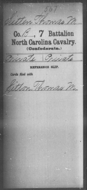 Sitten, Thomas M - Seventh Battalion, Cavalry