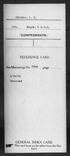 Skinner, T G - Age: [Blank], Year: [BLANK] - South Carolina Third Cavalry S-To
