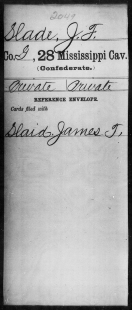 Slade, J F - Age: [Blank], Year: [BLANK] - Mississippi Twenty-eighth Cavalry, R-S1