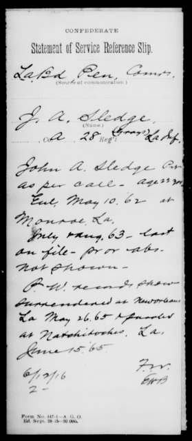 Sledge, J A - Age [Blank], Year: [Blank] - Twenty-eighth (Gray's) Infantry, Q-V - Louisiana