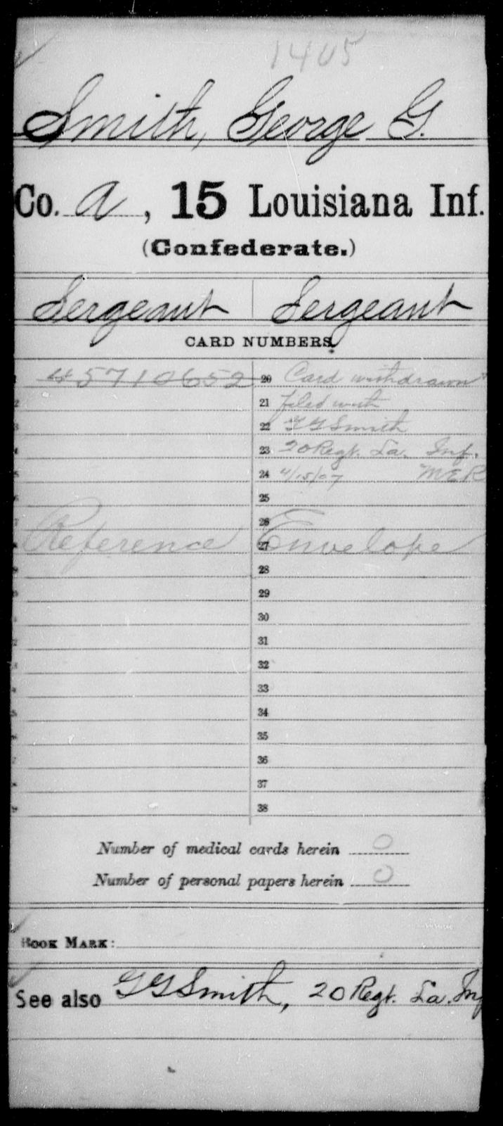Smith, George G - Age [Blank], Year: [Blank] - Fifteenth Infantry, No - Sm - Louisiana