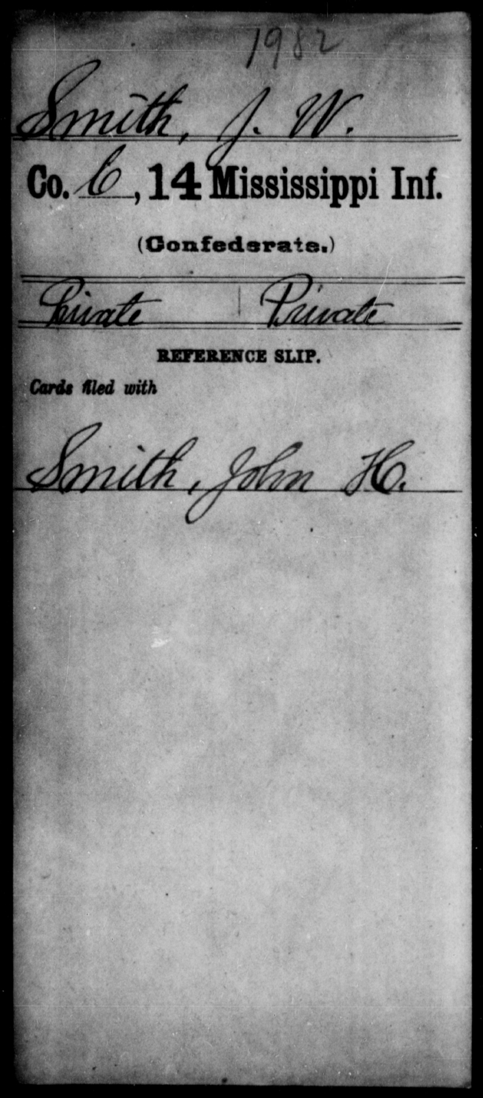 Smith, J W - Age: [Blank], Year: [BLANK] - Mississippi Fourteenth Infantry, P-Sp