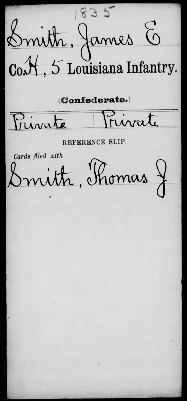Smith, James E - Age [Blank], Year: [Blank] - Roll Military Unit, Si - T - Louisiana
