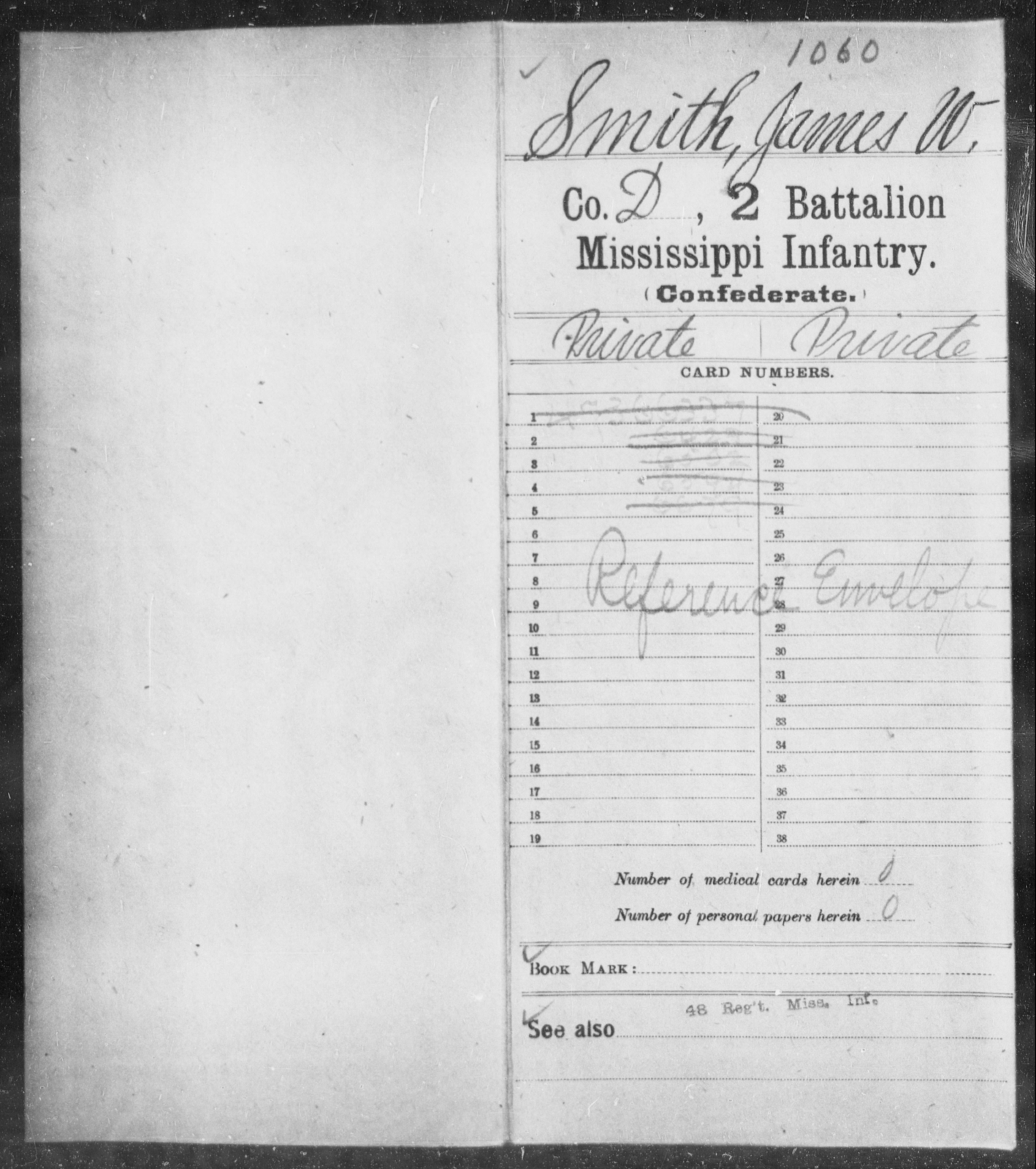 Smith, James W - Age: [Blank], Year: [BLANK] - Mississippi Second Battalion, Infantry, R-Z AND Second (Davidson's) Infantry (Army of 10,000), A-O