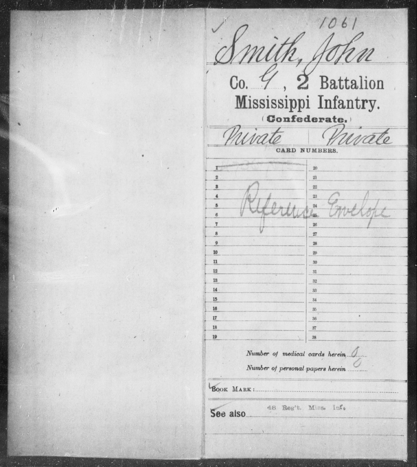 Smith, John - Age: [Blank], Year: [BLANK] - Mississippi Second Battalion, Infantry, R-Z AND Second (Davidson's) Infantry (Army of 10,000), A-O