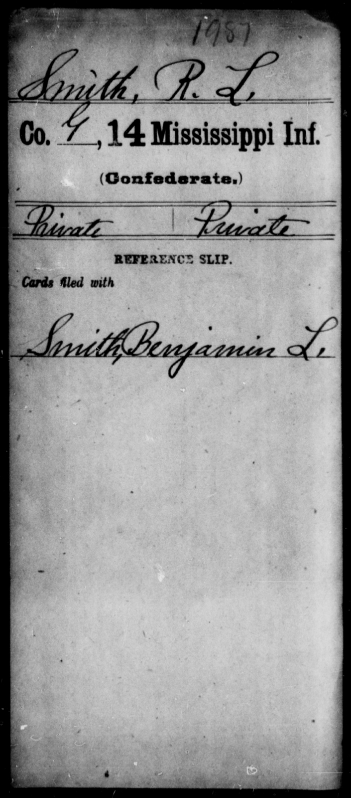 Smith, R L - Age: [Blank], Year: [BLANK] - Mississippi Fourteenth Infantry, P-Sp