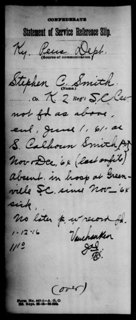 Smith, Stephen C - Age: [Blank], Year: [BLANK] - South Carolina Second Cavalry N-S