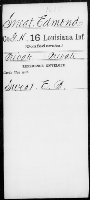 Sneat, Edmond - Age [Blank], Year: [Blank] - Sixteenth Infantry, Rh - S AND Roll Military Unit - Louisiana