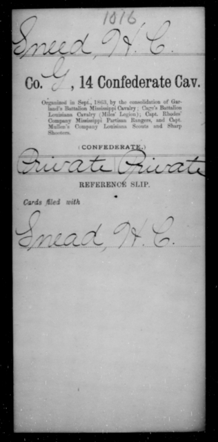 Sneed, H C - Age [Blank], Year: [Blank] - Fourteenth Confederate Cavalry, L-Z - Raised Directly by the Confederate Government