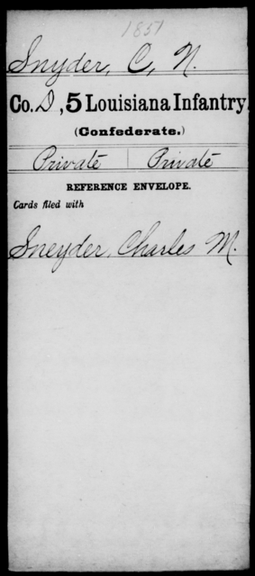 Snyder, C N - Age [Blank], Year: [Blank] - Roll Military Unit, Si - T - Louisiana