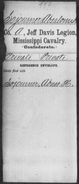 Sojourner, Absalom - Age: [Blank], Year: [BLANK] - Mississippi Jeff Davis Legion, Cavalry, N-Sp