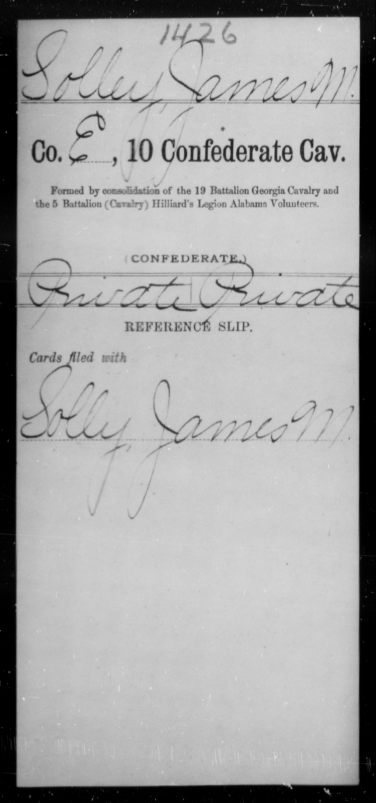 Solley, James M - Age [Blank], Year: [Blank] - Tenth Confederate Cavalry, R-Z - Raised Directly by the Confederate Government