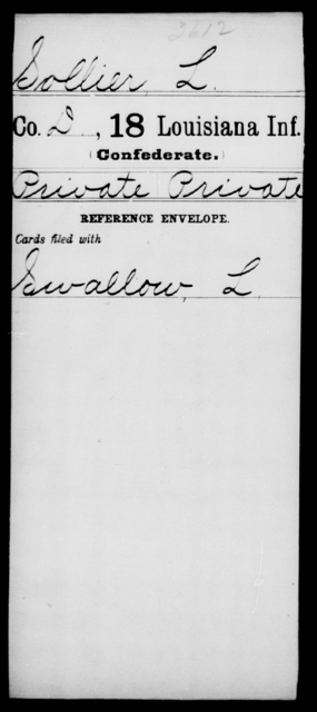 Sollier, L - Age [Blank], Year: [Blank] - Eighteenth Infantry, Si - Z - Louisiana