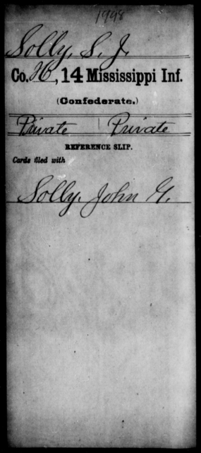 Solly, S J - Age: [Blank], Year: [BLANK] - Mississippi Fourteenth Infantry, P-Sp