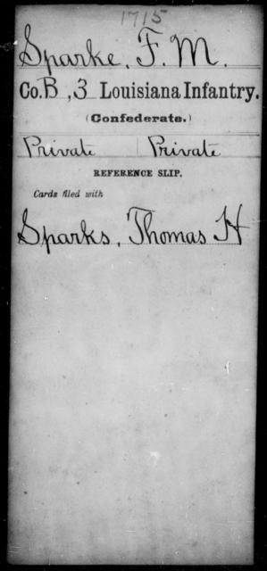 Sparke, F M - Age [Blank], Year: [Blank] - Roll Military Unit, S - T - Louisiana