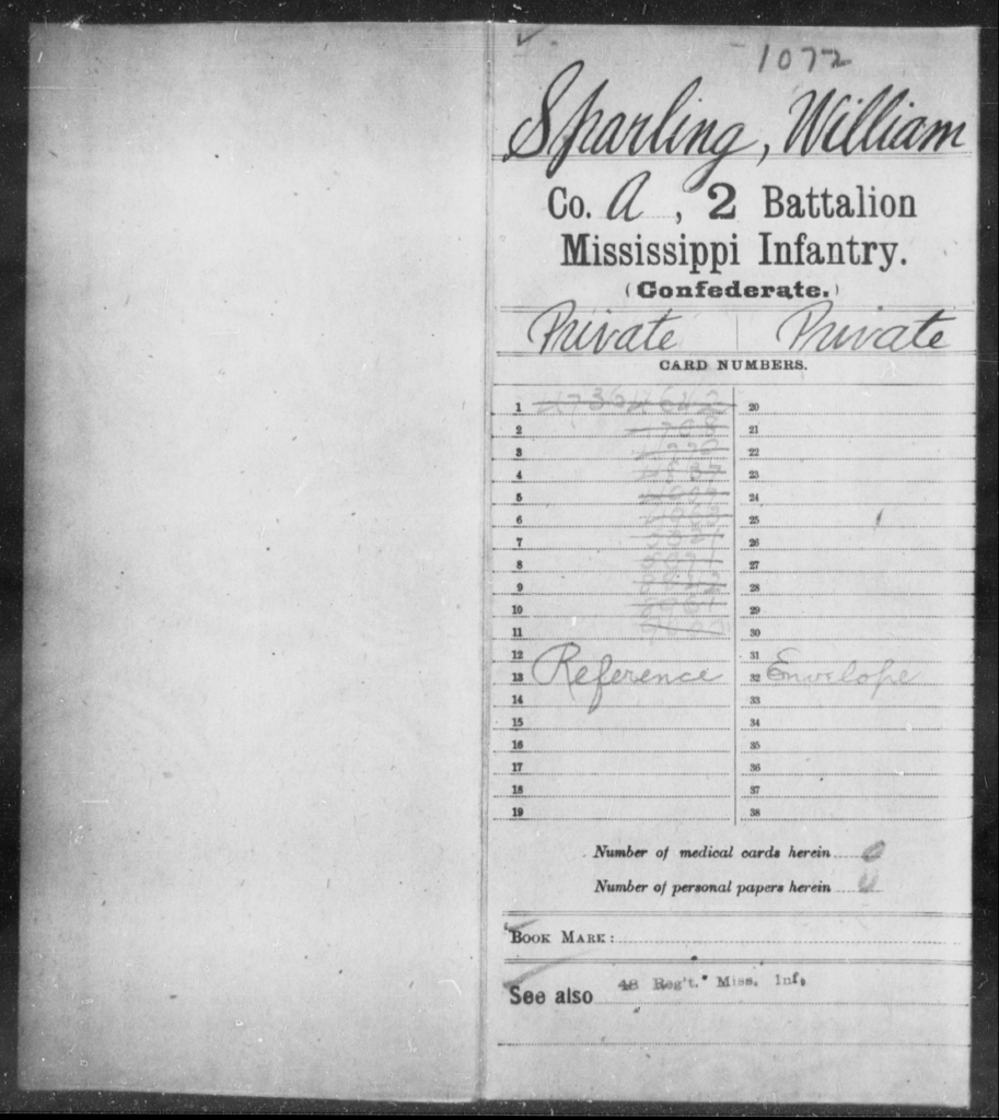 Sparling, William - Age: [Blank], Year: [BLANK] - Mississippi Second Battalion, Infantry, R-Z AND Second (Davidson's) Infantry (Army of 10,000), A-O