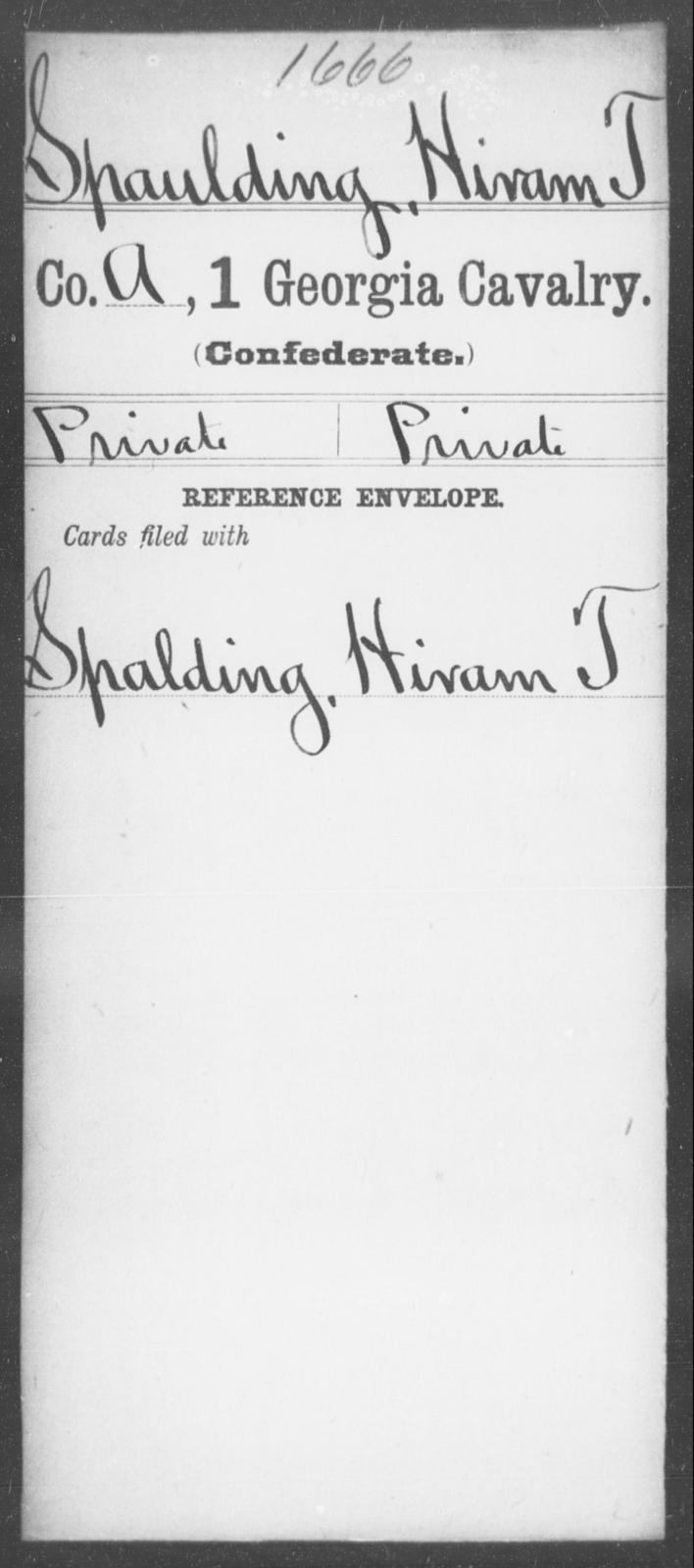 Spaulding, Hiram T - 1st Cavalry