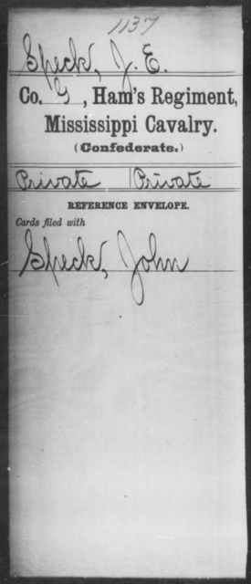 Speck, J E - Age: [Blank], Year: 1864 - Mississippi Ham's Regiment, Cavalry, H-S