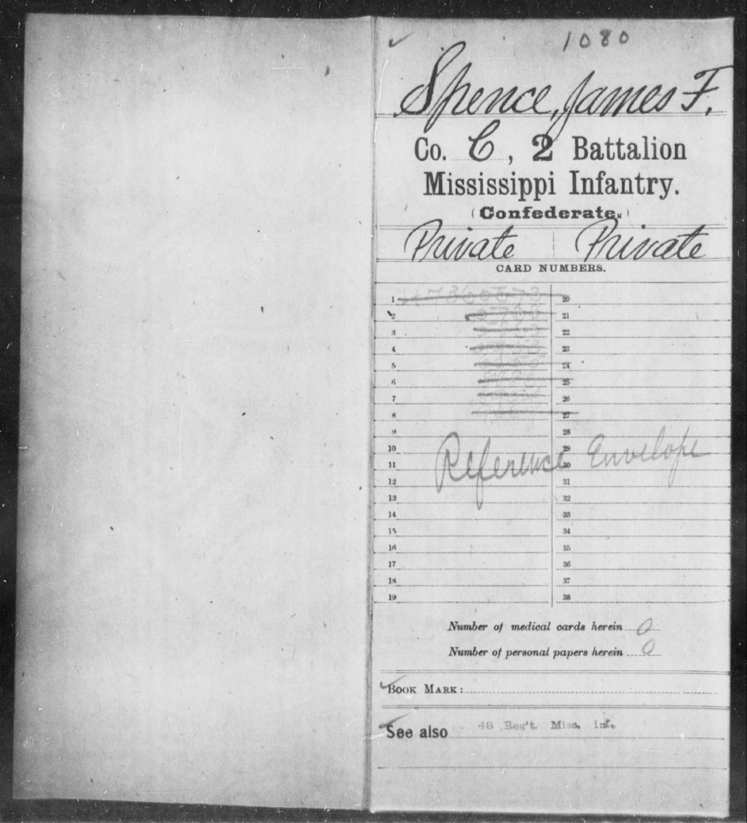Spence, James F - Age: [Blank], Year: [BLANK] - Mississippi Second Battalion, Infantry, R-Z AND Second (Davidson's) Infantry (Army of 10,000), A-O